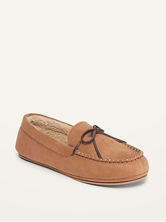 Faux-Suede Sherpa-Lined Moccasin Slippers for Men