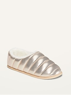Cozy Micro-Fleece-Lined Metallic Slippers for Girls