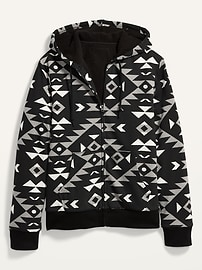 Cozy Sherpa-Lined Patterned Zip Hoodie for Men