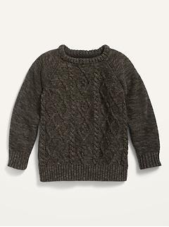 Chandail ras du cou en tricot torsadé pour tout-petit garçon