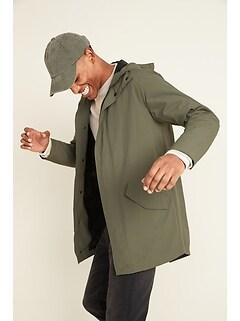 Water-Resistant Nylon Fishtail Parka Jacket for Men