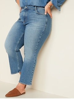 High-Waisted Secret-Slim Pockets Plus-Size Crop Flare Ankle Jeans