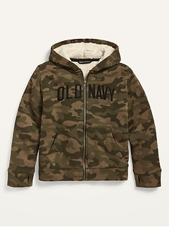 Logo-Graphic Sherpa-Lined Zip Hoodie for Boys