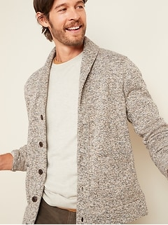 Sweater-Fleece Shawl-Collar Cardigan for Men