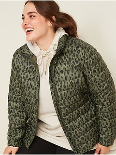 Quilted Narrow Channel Plus-Size Puffer Jacket