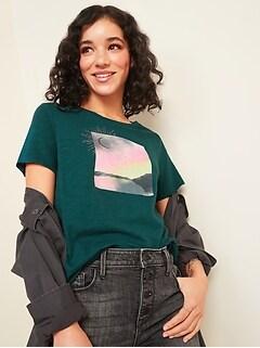 T-shirt à col rond Tout-aller à imprimé pour femme