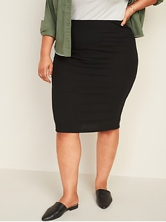 High-Waisted Rib-Knit Plus-Size Midi Pencil Skirt