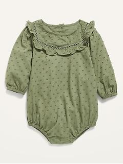 Barboteuse une-pièce à manches longues à plumetis pour bébé