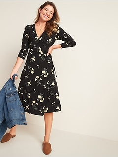 Robe portefeuille mi-longue ajustée et évasée à fleurs pour femme