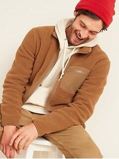 Cozy Sherpa Mock-Neck Flurry Zip Jacket for Men