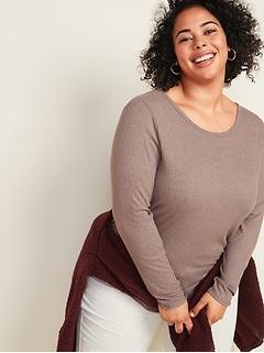 Cozy Rib-Knit Plus-Size Long-Sleeve Tee