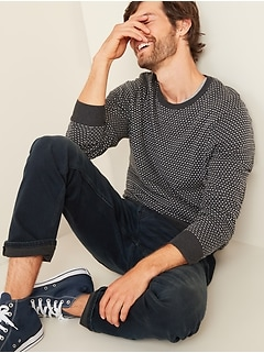 Birdseye-Pattern Crew-Neck Sweater for Men