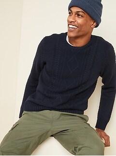 Chandail ras du cou en tricot torsadé texturé pour homme