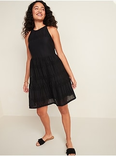 Eyelet Tiered-Hem Sleeveless Swing Dress for Women