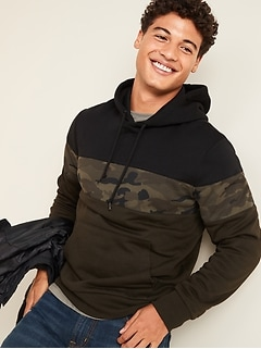 Camo Color-Block Pullover Hoodie for Men