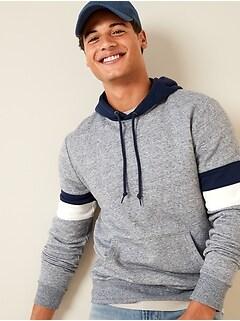 Color-Block Sleeve-Stripe Pullover Hoodie for Men