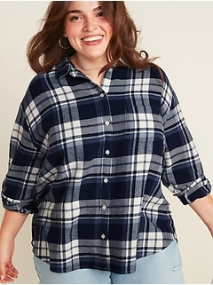 Plaid Flannel No-Peek Boyfriend Plus-Size Shirt