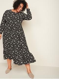 Waist-Defined Floral-Print Button-Front Plus-Size Maxi Dress