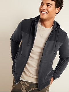 Woven-Pieced Fleece Zip Hoodie for Men