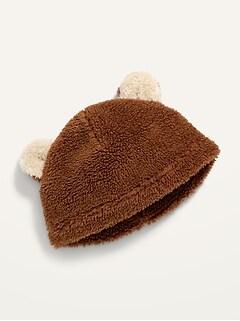Bonnet en sherpa à motif d'ours pour bébé