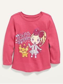 T-shirt à encolure échancrée et à manches longues à imprimé JoJo SiwaMC pour toute-petite fille