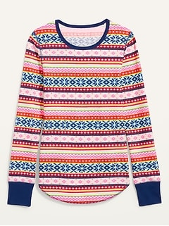 Printed Thermal-Knit Long-Sleeve Tee for Women
