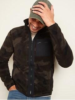 Veste en sherpa à motifs avec glissière à l'avant pour homme