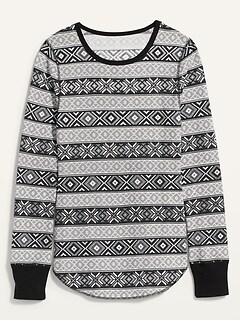 T-shirt à manches longues en tricot isotherme à imprimé pour femme
