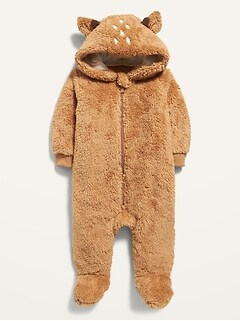 Deer-Critter Sherpa Footed One-Piece for Baby