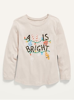 Holiday-Graphic Long-Sleeve Scoop-Neck Tee for Toddler Girls