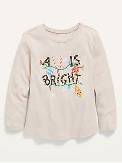 T-shirt à encolure échancrée et à manches longues à imprimé des fêtes pour toute-petite fille