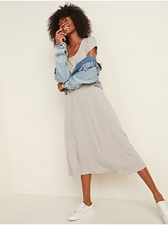Patterned Jersey Fit & Flare Midi Dress for Women