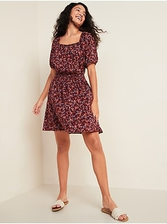 Waist-Defined Printed Puff-Sleeve Dress for Women