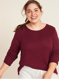 Plush-Knit Crew-Neck Plus-Size Long-Sleeve Tee