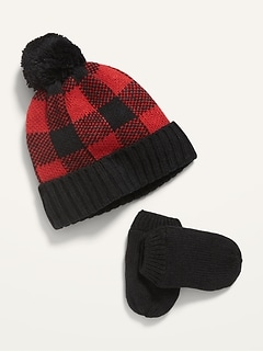 Unisex Printed Pom-Pom Beanie and Mittens Set for Toddler