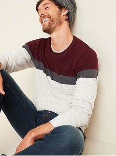 Soft-Washed Color-Blocked Long-Sleeve Tee for Men