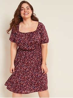 Waist-Defined Floral-Print Plus-Size Dress