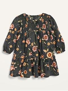 Robe à fleurs à encolure à smocks pour toute-petite fille