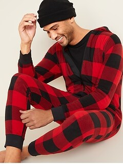 Patterned Micro Performance Fleece One-Piece Pajamas for Men