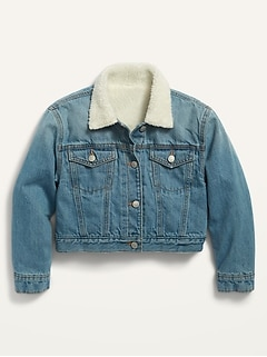 Sherpa-Lined Cropped Trucker Jacket for Girls