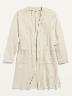 Cozy Super-Long Open-Front Sweater for Girls