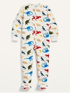 Unisex Dino-Print Footie Pajama One-Piece for Toddler & Baby