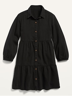 Black-Wash Tiered Denim Shirt Dress for Girls