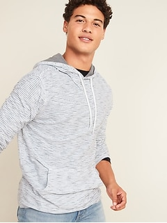 Soft-Washed Striped Slub-Knit Pullover Tee Hoodie for Men