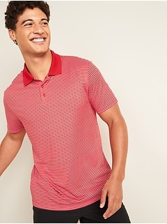 Go-Dry Cool Odor-Control Striped Core Polo for Men