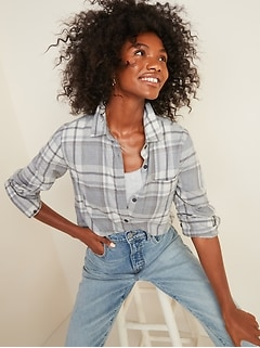 Classic Plaid Flannel Chest-Pocket Shirt for Women
