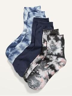 Novelty Quarter Crew Socks 3-Pack for Women