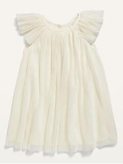 Robe évasée à plis froissés pour toute-petite fille