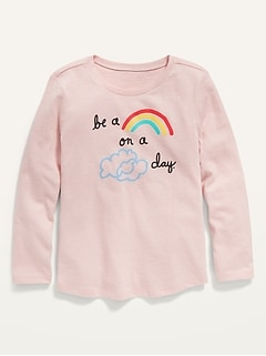 Long-Sleeve Graphic Scoop-Neck Tee for Toddler Girls