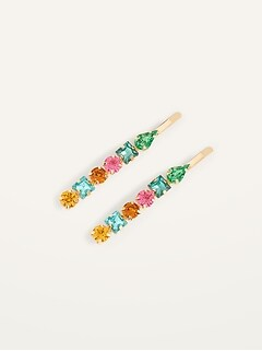 Embellished Metal Hair Clips 2-Pack for Women
